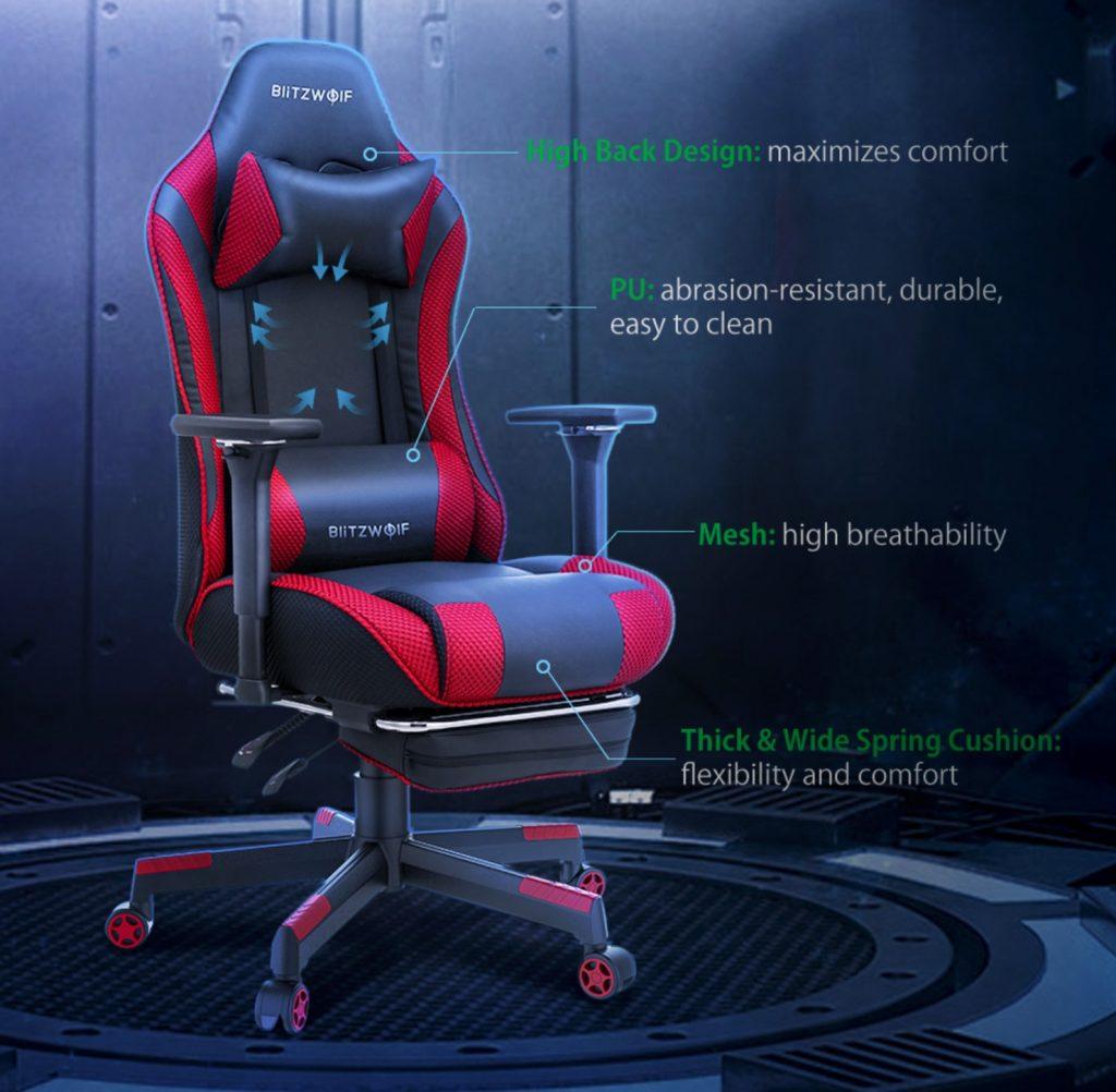 Príjemný material a ergonomický dizajn kresla