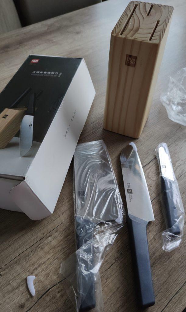 Xiaomi HuoHou set 3 nožov + drevený stojan